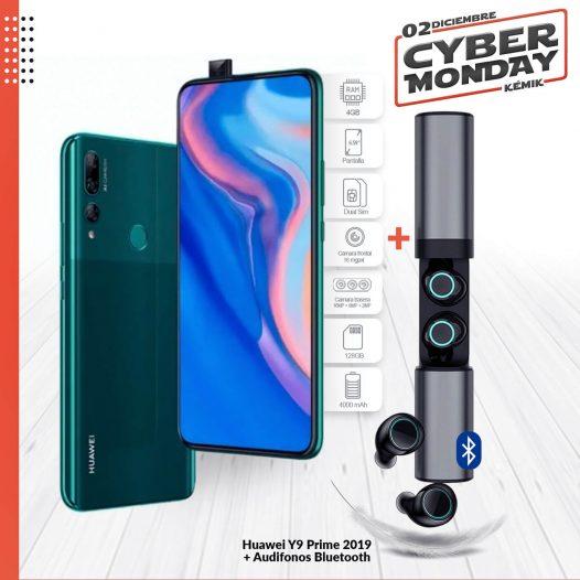 Combo Celular Huawei Y9 Prime 2019 4GB RAM 128GB 6.59″ DualSIM Color Verde Esmeralda + Audifonos Bluetooth S2-TWS