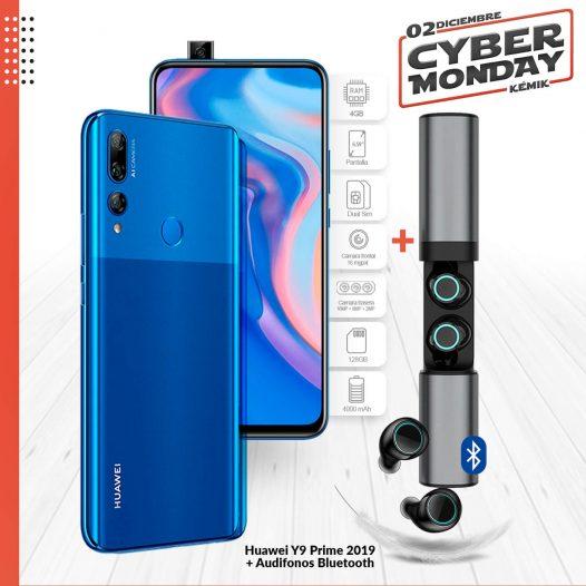 Combo Celular Huawei Y9 Prime 2019 4GB RAM 128GB 6.59″ DualSIM Color Azul Sáfiro + Audifonos Bluetooth S2-TWS (copia)